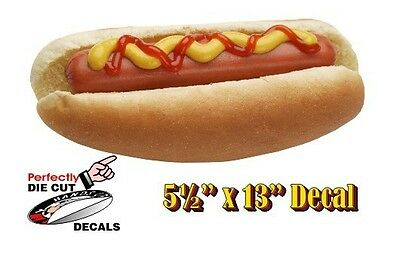 Ketchup Hot Dog 5.5''x13'' Decal Sign for Hot Dog Cart or Concession Stand Menu