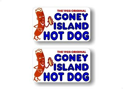 Coney Island Hot Dogs 7''x12'' Decal for Hot Dog Cart or Take Out Menu