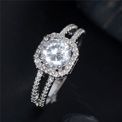 New Elegant Special Silver cubic zirconia Lady's Ring size 5-10