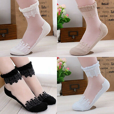 Sexy Women Invisibility Transparent Beautifu Lace Elastic Short Socks Stockings