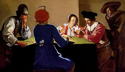 Oil jacob van oost the elder - an interior with soldiers cheating at cards art