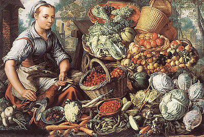 Oil joachim beuckelaer - market woman with fruit, vegetables and poultry canvas