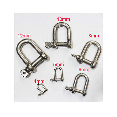 304 Stainless Steel D Shackle M4 to M16