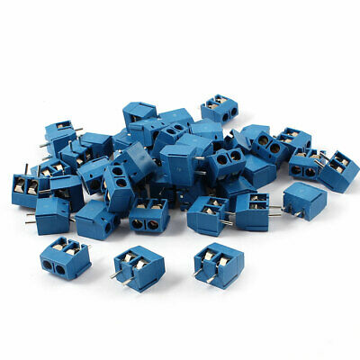 50 Pieces 5mm Pitch 300V 16A PCB Mount Type Terminal Block Blue