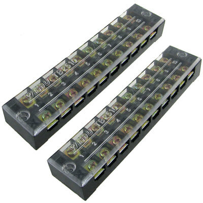 2x 600V 25A 10 Position Terminal Blocks Barriers w Cover