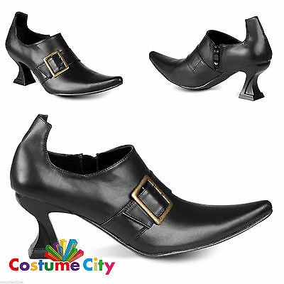 Womens Ladies Black High Heel Witch Shoes Fancy Dress Costume Accessory