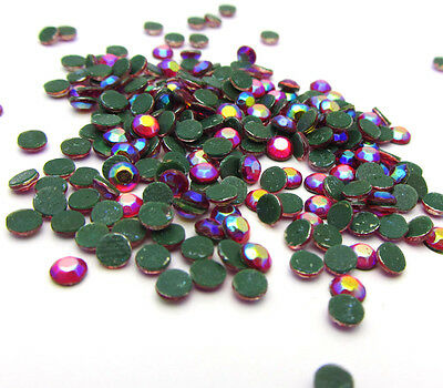New 800pcs 3MM Loose Round Iron On Hotfix Crystal Rhinestones RedAB Color