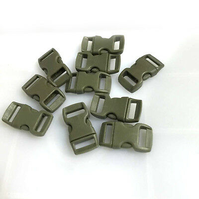 """12pcs 3/8"""" Curved Side Release Plastic Buckle  for Paracord Bracelet Army Green"""
