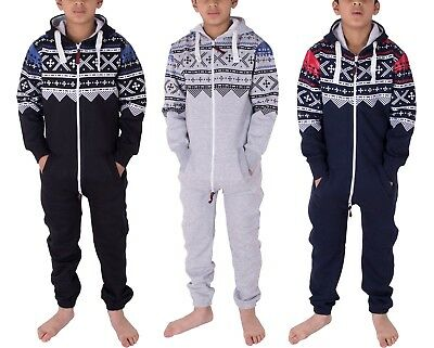 New Unisex Kids Girls Boys Aztec Fleece Jumpsuit Playsuit 2-13 Years