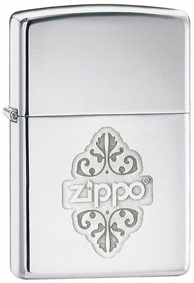 Personalised  Zippo Floral High Polish Chrome Zippo Lighter Engraved Gift