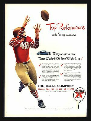 "Original 1948 ""texaco Dealers"" Fire Chief- Football Player Catching   Vintage Ad"