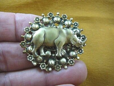 (b-rhino-21) RHINO rhinoceros Safari Africa oval pin brass brooch lover rhinos