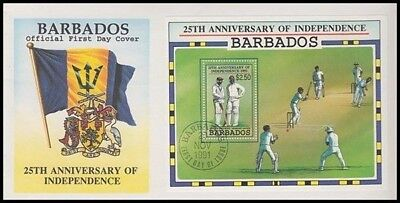 Barbados 1991 25Th Anniv Independence M/s Cricket Fdc (Id:541/d35119)