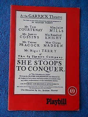 She Stoops To Conquer - Garrick Theatre Playbill - 1969 - Tom Courtenay - Mills