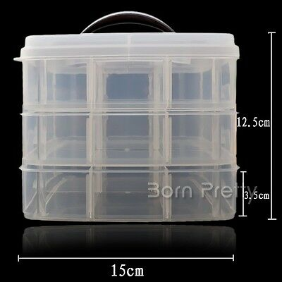 3 Layers Nail Charms Storage Box Nail Art Container Case Plastic Nail Tips Tool