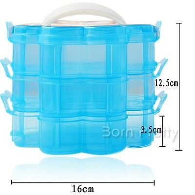 3 Layers Blue Nail Art Craft Container Case Box Storage Plastic Nail Tips Tool