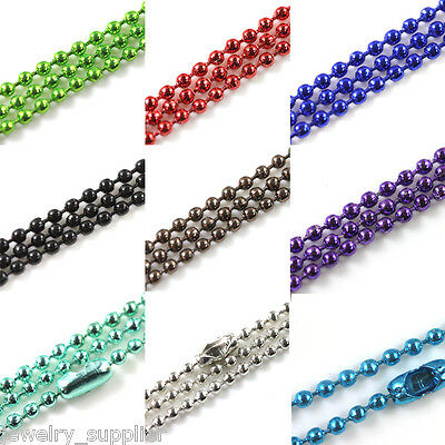 Wholesale Choose 28Inch Ball 10Color U  Chain Necklace 2.4mm Bead Connector