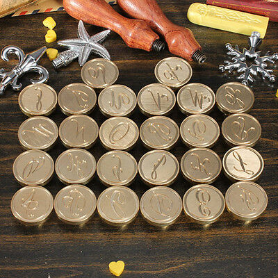 26 Letters Alphabet A-Z Sealing Wax Seal Brass Copper Head Stamp Rosewood Handle
