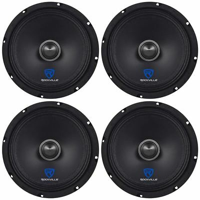 "(4) Rockville RXM88 8"" 1000w 8 Ohm Mid-Range Drivers Car Speakers, Mid-Bass"