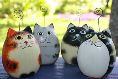 Fat Cat Photo holder Set ornament Hand Carved wood Painted Bali folk art