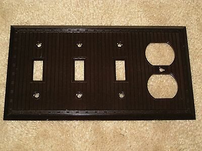 Vintage DECO UNILINE BAKELITE Lines 4 Quadruple Light Switch Outlet Plate Cover