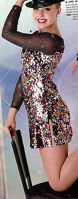 NWT teardrop sequin long sleeve sequin dance dress ballroom Jazz Sparkle Ladies