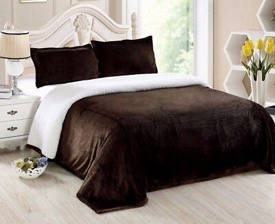 Chezmoi Collection Reversible Micro-mink Sherpa Throw Blanket Queen, Chocolate