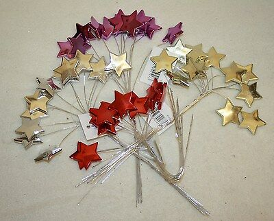 12 Shiny Metallic  Star Picks on Wire  Christmas Wreath Craft Decoration