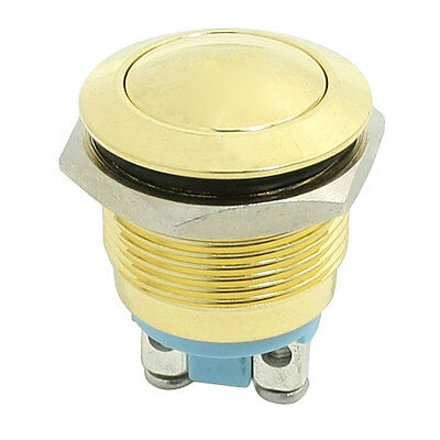 3A AC 250V 2 Pin NO 19mm Momentary Metal Push Button Switch Gold Tone