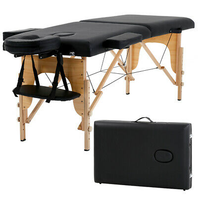 "2"" Pad 84"" Black Portable Massage Table w/Free Carry Case Chair Bed Spa Facial T"