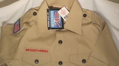 Boy Scout Bsa Official Licensed Short Sleeve Uniform Shirt Youth Size S 6-8 2Xl