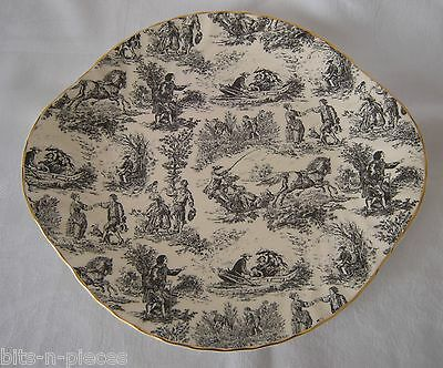 STAFFORDSHIRE Chintz ROYALE GARDEN Tabbed Cake serving Plate scenic transferware