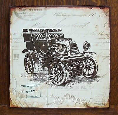 """Antique Style Vintage Car Metal Sign 10""""x10"""" Wall Art"""