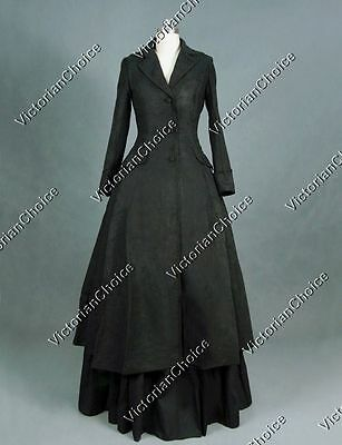Victorian Gothic Sherlock Holmes Black Coat Dress Ghost Halloween Costume C002
