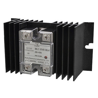 DC to AC 3-32VDC 24-480VAC Solid State Relay SSR 40A SSR-40DA w Heat Sink