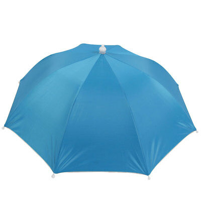 Plastic Tip Stretchy Head Band Umbrella Hat Baby Blue