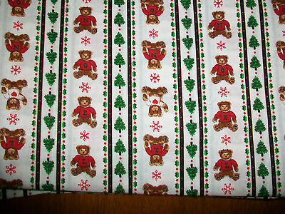 Rows Of Teddy Bears On White Cotton Quilt Fabric
