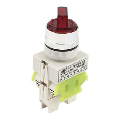 Panel Mounted DPDT 3P NO+NC Rotary Selector Locking Switch AC220V 10A Red Light