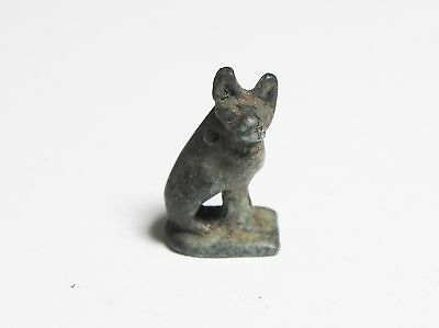 Zurqieh -Ancient Egypt - Roman Period Faience Amulet Of A Cat. 100 - 200 A.d