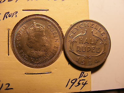 Seychelles 1/2 Rupee, 1954, Uncirculated - Mintage only 74K !!