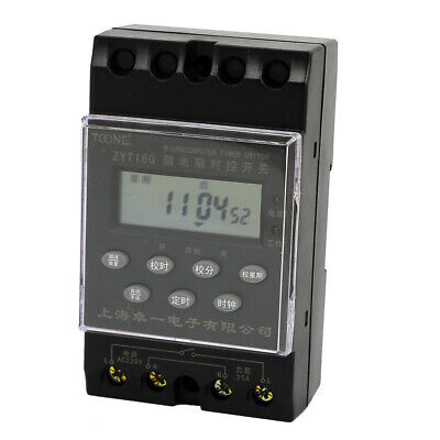 AC 220V 35mm DIN Rail LCD Display Programmable Microcomputer Timer Switch ZYT16G