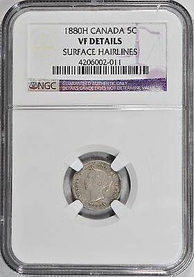 1880H Five Cents Canada NGC VF Details 5c Coin