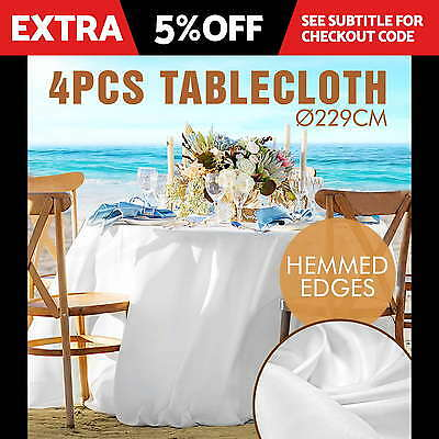 Tablecloths Wedding Round Table Cloth Event Party Banquet Trestle White X4