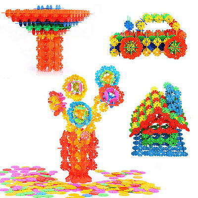 100 Pcs Mixed Color Baby Kids Snowflake Building Blocks Creative Educational Toy