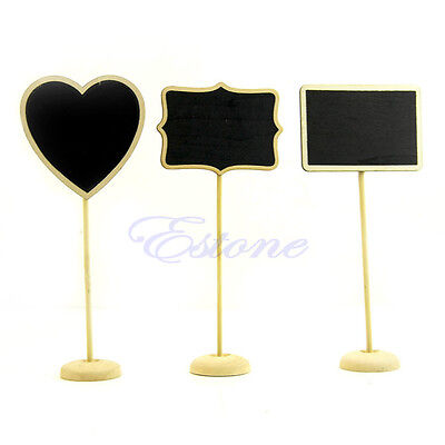 10pcs Wooden Blackboard Chalkboard with Stand Place Wedding Table Number Sign