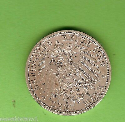 #C18. Prussia, German States, 1910  3 Mark Silver Coin