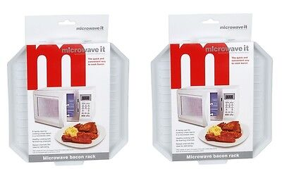 2 x  Microwave It Plastic Microwave Bacon Rack Bacon Crisper Defrosting Tray