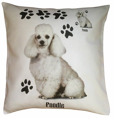 Poodle White Paws Breed of Dog Cotton Cushion Cover - Perfect Gift