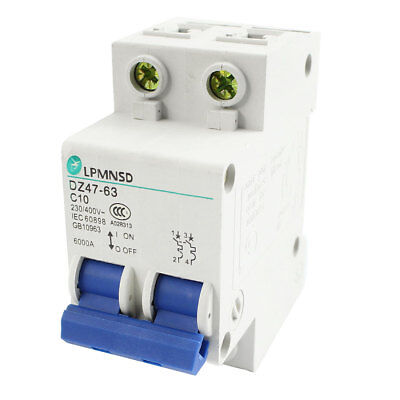 AC230V AC400V 10A 6000A 2P Overload Protection Circuit Breaker DZ47-63 C10
