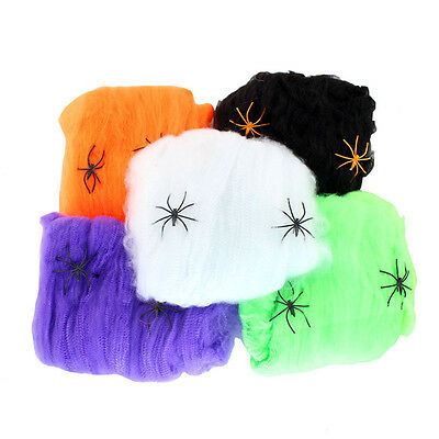 halloween stretchable fake spider web w 2 spiders cotton